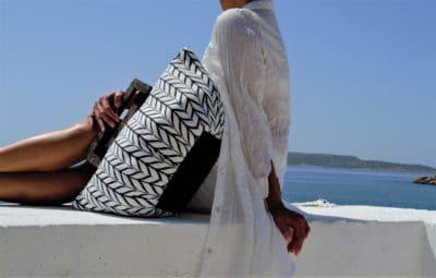 BAG IONIAN SEA WHITE-BLACK