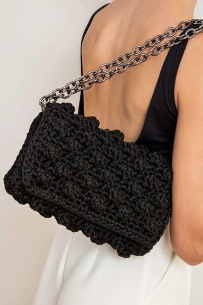 HANDMADE BAG BUBBLES BLACK