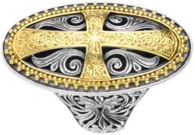 STERLING SILVER & 18K GOLD RING