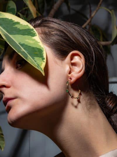 COLORFUL HOOP EARRINGS 18ct