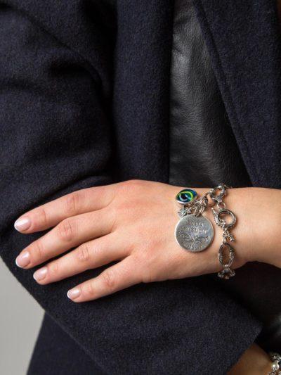 Charm Bracelet Sterling Silver & 18k Gold