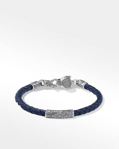 BLUE LEATHER BRACELET IN STERLING SILVER