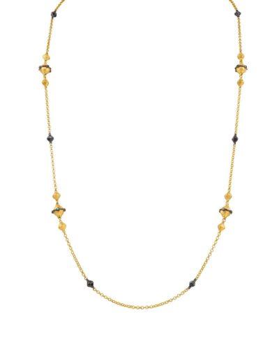 BLACK DIAMOND NECKLACE & 18K GOLD 28''